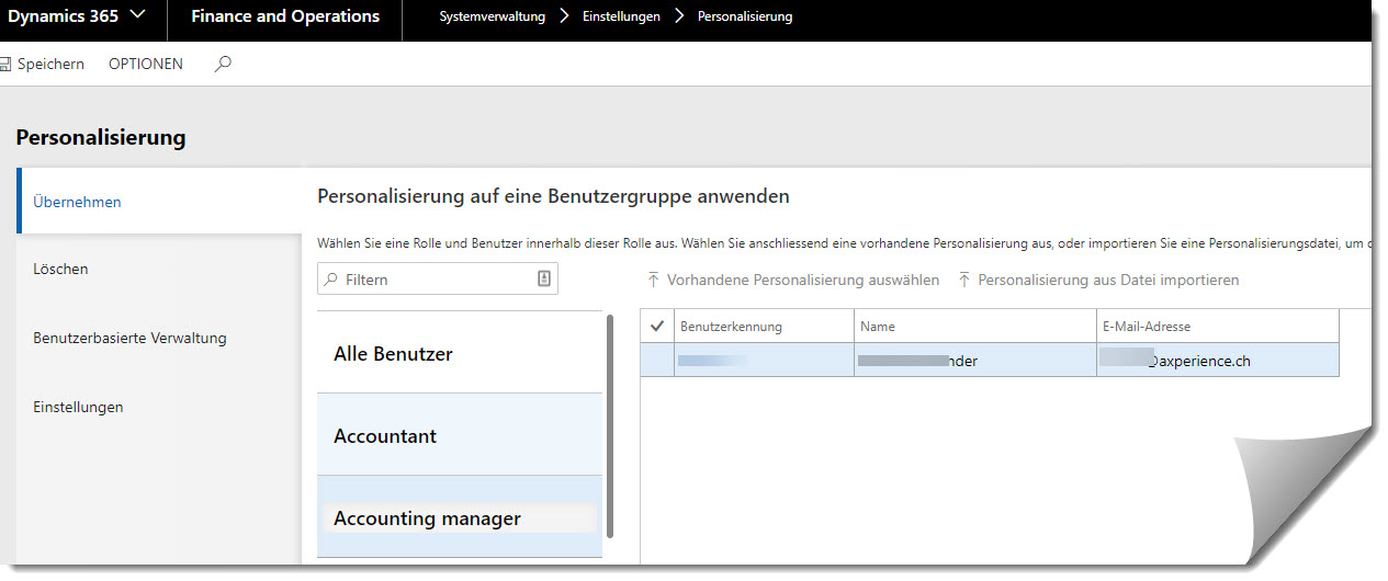 Personalisierungs-Maske in Microsoft Dynamics 365 for Finance and Operations